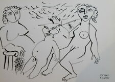 1991 - ABSTRACT MODERNISM NUDE GROUP PORTRAIT INK PAINTING SIGNED