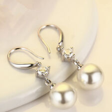 Women Pearl Drop Earring Hook Lady Elegant 925 Silver Ear Stud Earrings Wedding