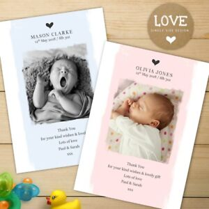 10 x  Personalised Thank You Cards ~ Baby Boy or Girl Birthday Christening (B1)