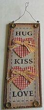 "VALENTINE'S DAY Hanging Sign  HUG/KISS/LOVE  14.5"" x 6"""