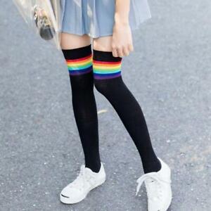 Womens Girls Over Knee Thigh High Stockings Rainbow Stripes Patchwork Long Socks