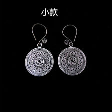 filigree Miao silver earring 1pair National wind retro Chinese pure handmade