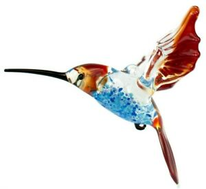 NR Hummingbird Glass Figurine, Blown Art, Blue and Red Bird Ornament