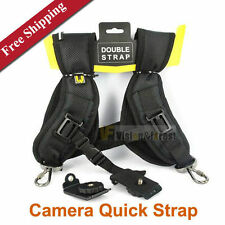Universal Double Camera Shoulder Neck Sling Quick Strap Belt UK Seller