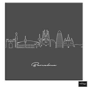 Barcelona Abstract Line Art City BOX FRAMED CANVAS ART Picture HDR 280gsm