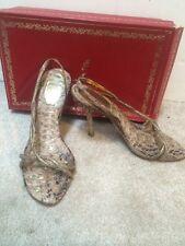Rene Caovilla Heels Rhinestone Pitons Gold Beige Shoes Sz 36.5