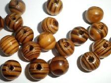 LOT de 100 PERLES en BOIS RONDES naturel CAMEL CHOCOLAT RAYE 8mm création bijoux