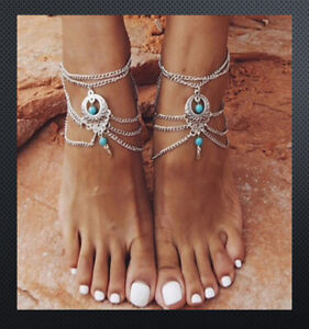 1 Pair Anklet Ankle Bracelet Foot Jewellery Boho Hippie Silver Turquoise Howlite