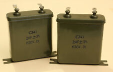 LOT DE 2 CONDENSATEURS A BAIN D' HUILE EN CUVE METAL 2 µF - 630 V - 5%