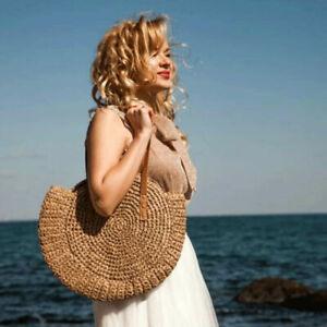 Summer Hand-woven Rattan Round Woman's Bag Handbag Shoulder Bag Straw Beach Bag