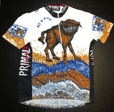 vtg Primal Wear BEWARE OF THE ANGRY DOG CYCLING Jersey XL 2000s Postage Stamp