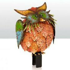 Coloured Owl Fence sitter - metal animals to decorate a garden fence or trellis