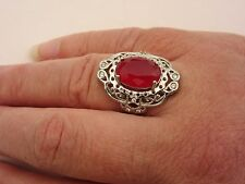925 Argento Sterling Ring con Red Ruby UK P, US 7.75 (rg2743)