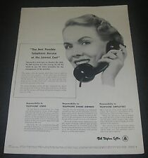 Magazine Print Ad 1952 BELL TELEPHONE Best Possible Service at Lowest Cost