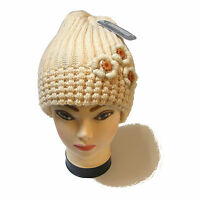 WOMENS LADIES CREAM THICK CHUNKY CABLE KNITTED BEANIE HAT WITH CROCHET DETAILS