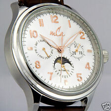 Automatic Mens Watch w/ Guilloche Dial & Seagull Mov't