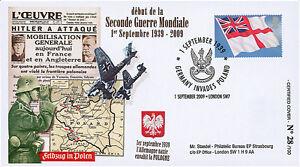 """WW39-09A FDC UK """"70 ans Début 2e GUERRE MONDIALE - Invasion Pologne Stukas"""" 2009"""