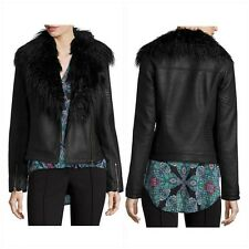 Nicole Miller Faux Leather Biker Jacket, Removable Faux Fur, MSRP $120, NWT, XS