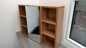 ~~~HUGE SAVING~~~ 😉 Large Solid Oak Mirror Cabinet Natural Oak - Faulty