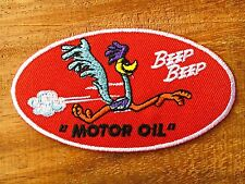 Retro ROAD RUNNER MotorOil Car Vintage Advert Ad Beep Red Oval Iron On Sew Patch