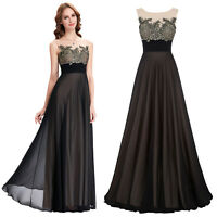 Appliques Maxi Formal Party Gown Evening Long Ball Prom Dress 2 4 6 8 10 12 14