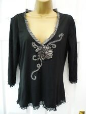 PER UNA Ladies 14 Black Grey Textured V Neck Stretchy Party Occasion Tunic Top