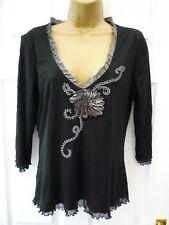 PER UNA Ladies 12 14 Black Grey Textured V Neck Stretch Party Occasion Tunic Top