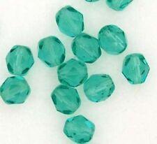 Czech Glass Beads Fire Polished Aquamarine  6mm x 25