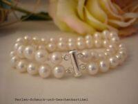 Armband aus Echten Perlen 6-7mm Weiß 20cm Zweireihig, Super Lüster, 925er Silber