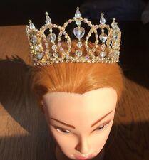 NEW Professional Ballet Tiara Headpiece Gold AB Crystal Hearts Crown YAGP O/S