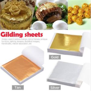 100X Gold/Silver/Rose Gold Foil Leaf Paper Food Cake Decor Edible Gilding Craft