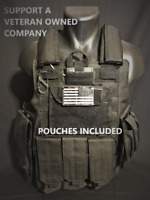 Tactical Vest Plate carrier Body Armor adjustable Black SWAT Military