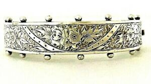 Antique Victorian Gothic Ornate Silver back & front Hinged Cuff Bangle