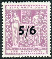 NEW ZEALAND-1944 5/6 ON 5/6 Lilac POSTAL FISCAL Sg F214 LIGHTLY MOUNTED  V17894