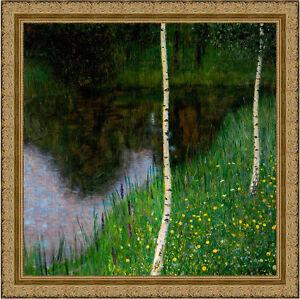 Lakeshore with Birches by Gustav Klimt 69cm x 69cm Framed Ornate Gold