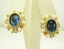 "Joan Rivers Faux Pearl & Crystal Earrings PIERCED  5/8""  GOLDTONE"