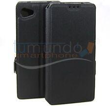 Funda soporte de piel negra para Sony Xperia Z5 Compact Flip libro
