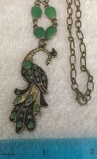 Vintage Green Enamel Peacock Necklace Pendant.