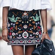 DESINGER BLACK Women FLORAL flower EMBROIDERED MINI short SKIRT
