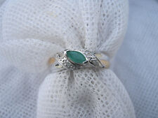 STUNNING GENUINE EMERALD + DIAMOND DOUBLE GOLD/SILVER BAND RING - SOLID STERLING
