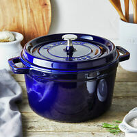 Staub Cast Iron TALL Round Cocotte, 5Qt -  6 Colors - Brand New in Retail Box