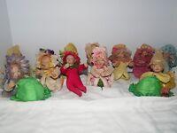 Ashton Drake Rare Retired 1995 Doll Set 12 Flower Garden Theme Miniature Dolls