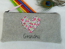 Handmade Personalised Heart Pencil Case choice of wording vintage floral & grey