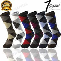 3 6 9 12 Pairs Lords Cotton Men's Multi Color Argyle Diamond Dress Socks 10-13