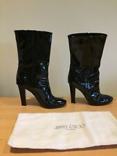 Jimmy Choo Talla 36,5 Reino Unido 3,5 Negro Botas De Patente, De Moda