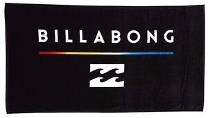 Large Billabong Tri Unity Black Velour Beach / Pool Towel. NWT RRP $59.99.