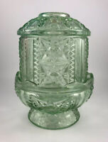 Vtg 50s INDIANA Glass Fairy Lamp Light Green Courting Candle Lamp Stars and Bars