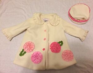 Bonnie Baby Ivory Peacoat With Matching Hat Size 3-6 Months
