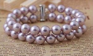 "7.5"" 8"" 2Rows 8mm Round Purple South Sea Shell Pearl Beads Bangle Bracelet AAA+"