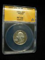 1954 Proof Washington Quarter ANACS Certified PR 66 CAM Cameo
